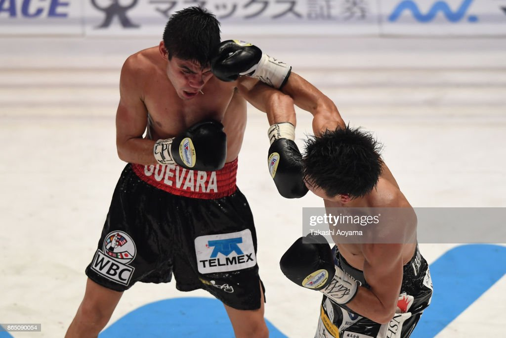 Kenshiro Teraji of Japan (R) punches Pedro Guevara of Mexico during their WBC Light Flyweight Title Bout at Ryogoku Kokugikan on October 22, 2017 in Tokyo, Japan.