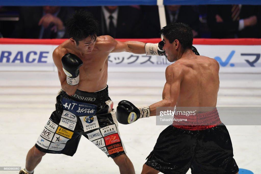 Kenshiro Teraji of Japan (L) punches Pedro Guevara of Mexico during their WBC Light Flyweight Title Bout at Ryogoku Kokugikan on October 22, 2017 in Tokyo, Japan.