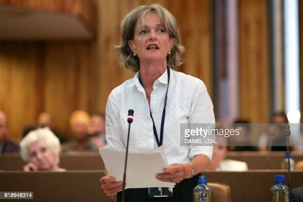 Kensington and Chelsea Council's leader Elizabeth Campbell speaks during a council meeting to discuss Grenfell Tower the election of a new council...
