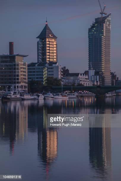 Kensington & Chelsea Riverside Sunrise. Architecture, Atmosphere & Urban Skyline