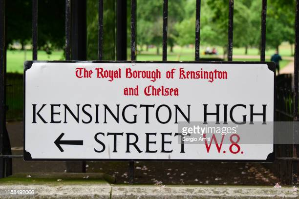 kensington high street sign - chelsea stock pictures, royalty-free photos & images