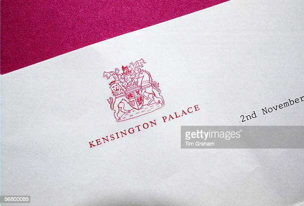 Kensington Palace letterhead in the 1980s from the office of the Prince and Princess of Wales