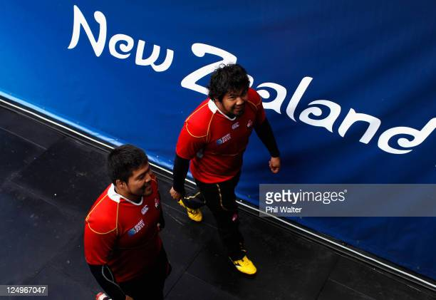 Kensuke Hatakeyama and Naoki Kawamata leave the field following a Japan IRB Rugby World Cup 2011 captain's run at Waikato Stadium on September 15,...