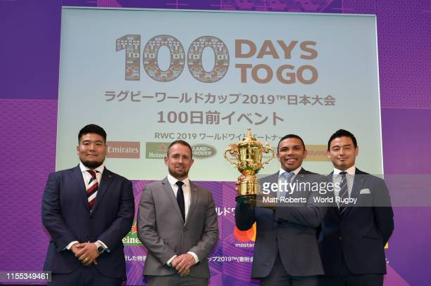 Kensuke Hatakeyama Shane Williams Bryan Gary Habana and Ayumu Goromaru pose on stage during the event marking 100 days to go to the Rugby World Cup...