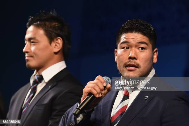 Kensuke Hatakeyama speaks on stage during the Rugby World Cup 2019 match schedule announcement at Grand Prince Hotel Shin Takanawa on November 2 2017...