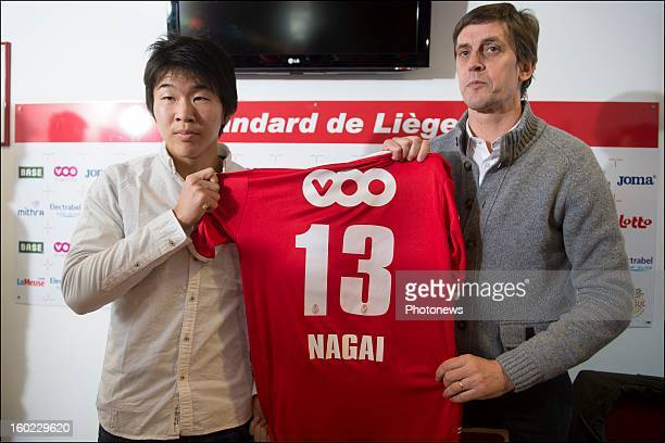Kensuke Nagai and JF de Sart pose during an official presentation as new player of Standard Liege on January 28 2013 in Liege Belgium