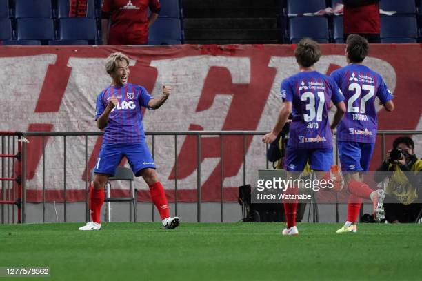 Kensuke Nagai of FC Tokyo celebrates scoring his team's first goal during the J.League Meiji Yasuda J1 match between Urawa Red Diamonds and FC Tokyo...