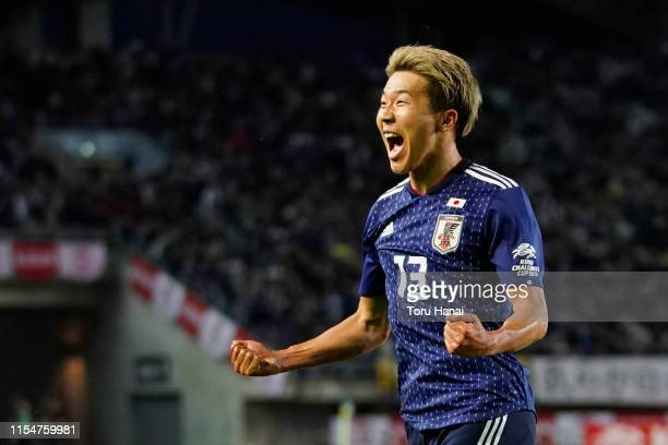Kensuke Nagai of Japan celebrates after scoring a goal against El Salvador during the international friendly match between Japan and El Salvador at...