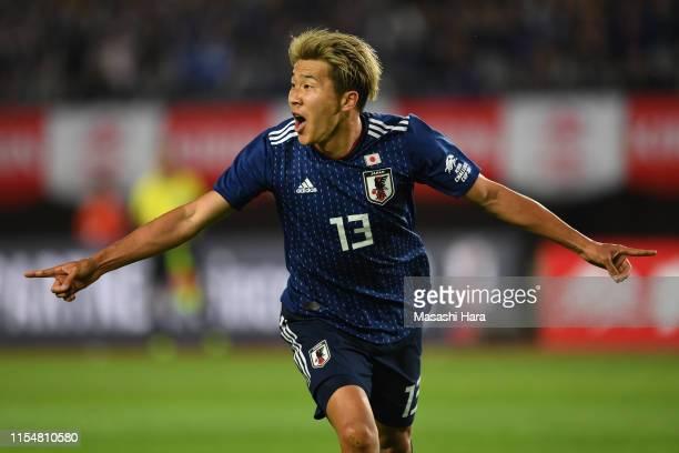 Kensuke Nagai of Japan celebrates the first goal during the international friendly match between Japan and El Salvador at Hitomebore Stadium Miyagi...