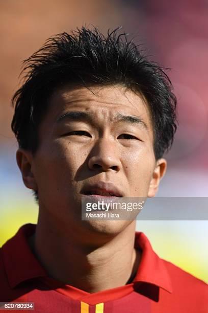 Kensuke nagai of Nagoya Grampus looks on prior to the JLeague match between Nagoya Grampus and Shonan Bellmare at Paroma Mizuho Stadium on November 3...