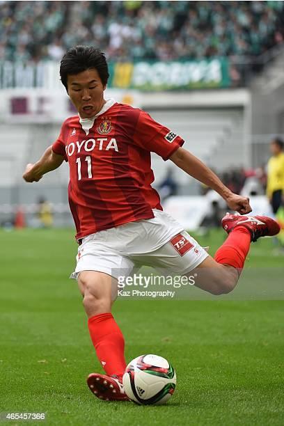 Kensuke Nagai of Nagoya Grampus passes the ball during the J League match between Nagoya Grampus and Matsumoto Yamaga at Toyota Stadium on March 7...