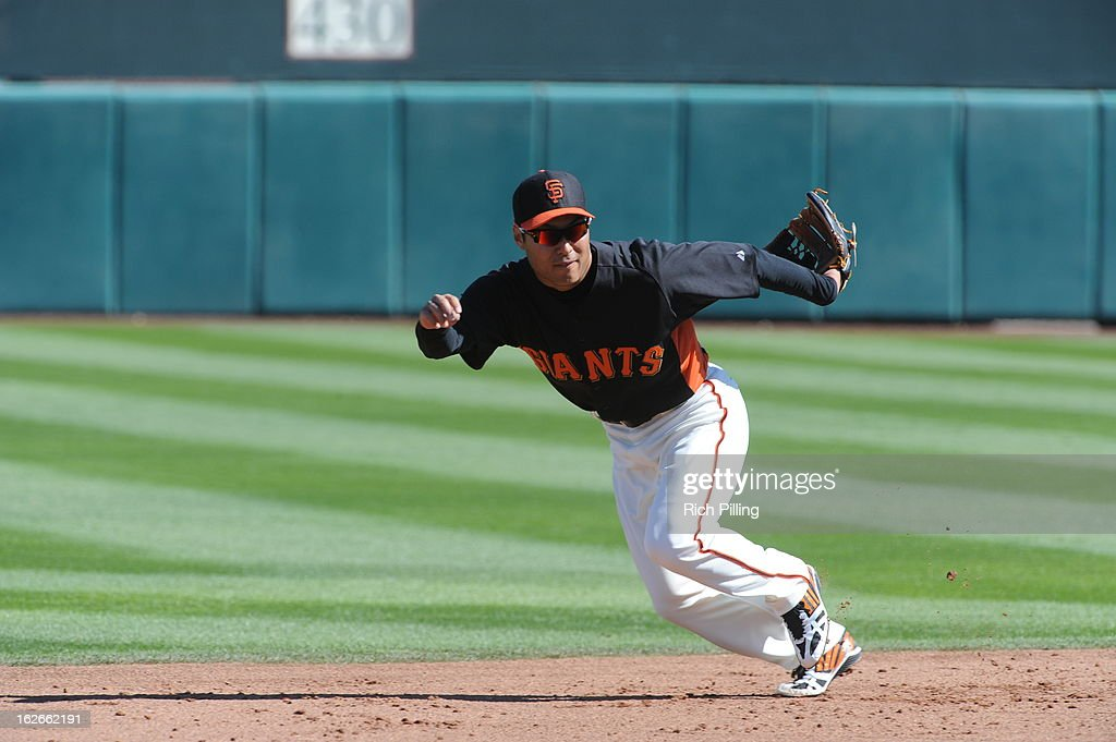 Kensuke Tanaka #88 of the San Francisco Giants is seen prior to the game against the Chicago White Sox on February 25, 2013 at Scottsdale Stadium in Scottsdale, Arizona. The Giants and White Sox played to a 9-9 tie.