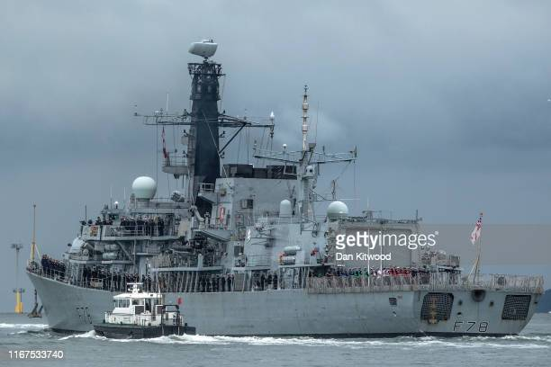 Kent a Type 23 frigate leaves Portsmouth Harbour on August 12 2019 in Portsmouth England The British warship is on route to the Gulf amid heightened...