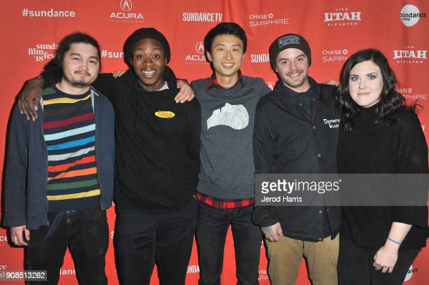 Kent Abernathy Keire Johnson director Bing Liu Zack Mulligan and Samantha Graham attend the Minding The Gap Premiere during the 2018 Sundance Film...