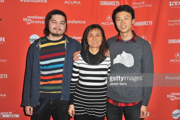 Kent Abernathy Mengyue Bolen director Bing Liu attends the Minding The Gap Premiere during the 2018 Sundance Film Festival at Egyptian Theatre on...