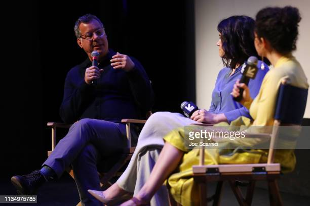 Kent Alterman Abbi Jacobson and Ilana Glazer speak onstage during Comedy Central's 'Broad City' series finale screening at SXSW iˆˆn Austin TX at...