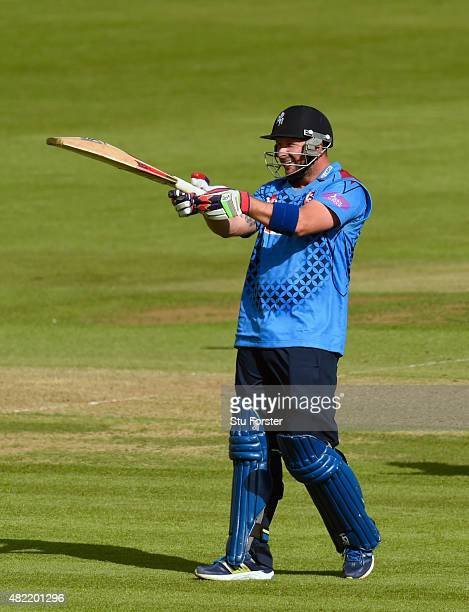 Kent batsman Darren Stevens raises his bat after reaching his century during the Royal London OneDay Cup match between Glamorgan and Kent Spitfires...
