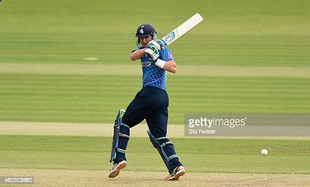 Kent batsman Joe Denly hits out during the Royal London OneDay Cup match between Glamorgan and Kent Spitfires at SWALEC Stadium on July 28 2015 in...
