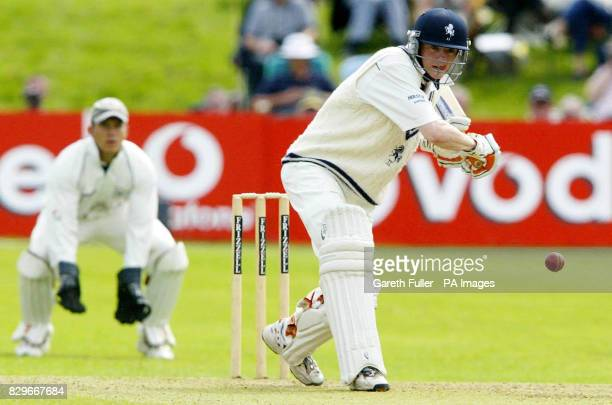 Kent batsman Niall O'Brien in action watched by Gloucestershire wicketkeeper Steve Adshead