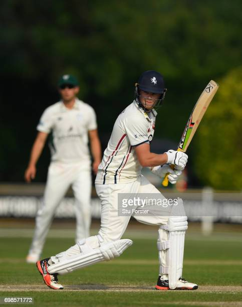 Kent batsman Sam Northeast in action during the Specsavers County Championship Division Two between Worcestershire and Kent at New Road on June 20...