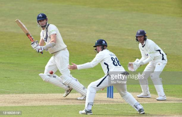 Kent batsman Zac Crawley picks up some runs past short leg fielder Harry Brook as wicketkeeper Jonathan Tattersall looks on during day one of the LV=...