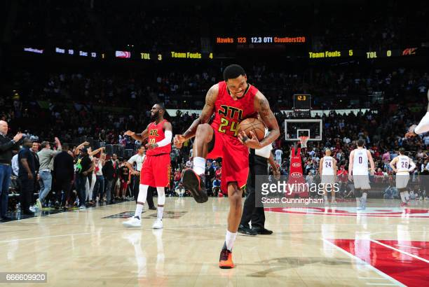 Kent Bazemore of the Atlanta Hawks celebrates after a game against the Cleveland Cavaliers on April 9 2017 at Philips Arena in Atlanta Georgia NOTE...
