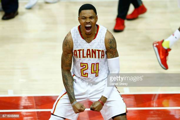 Kent Bazemore of the Atlanta Hawks celebrates at the end of the third quarter against the Washington Wizards in Game Three of the Eastern Conference...
