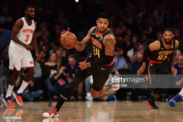 Kent Bazemore of the Atlanta Hawks dribbles down the court during the second quarter of the game against New York Knicks at Madison Square Garden on...