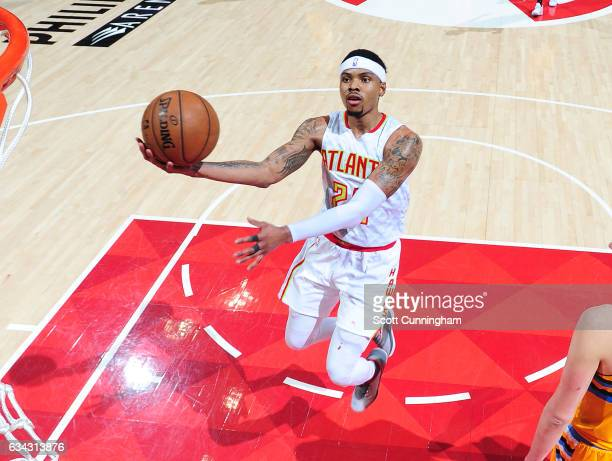 Kent Bazemore of the Atlanta Hawks goes for a lay up against the Denver Nuggets during the game on February 8 2017 at Philips Arena in Atlanta...