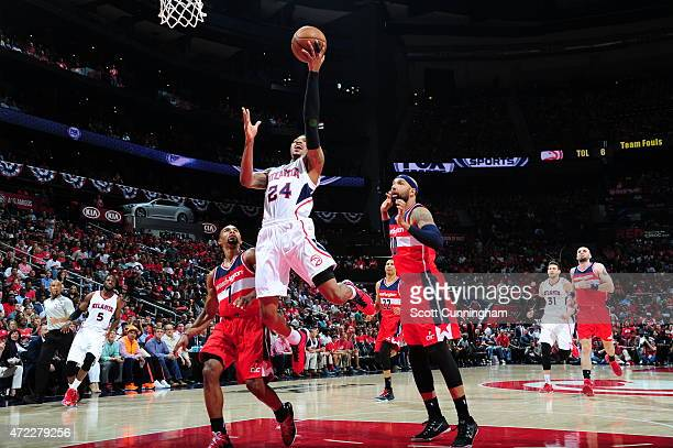 Kent Bazemore of the Atlanta Hawks goes up for a shot against the Washington Wizards in Game Two of the Eastern Conference Semifinals of the NBA...