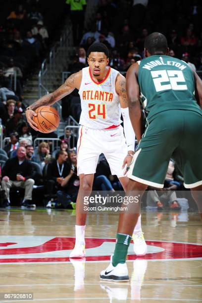 Kent Bazemore of the Atlanta Hawks handles the ball against the Milwaukee Bucks on October 29 2017 at Philips Arena in Atlanta Georgia NOTE TO USER...