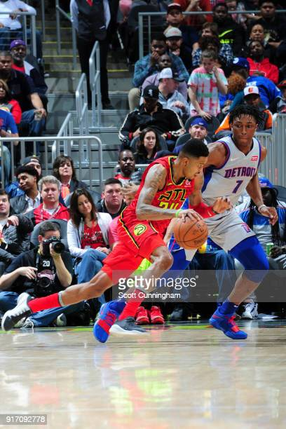Kent Bazemore of the Atlanta Hawks handles the ball against the Detroit Pistons on February 11 2018 at Philips Arena in Atlanta Georgia NOTE TO USER...