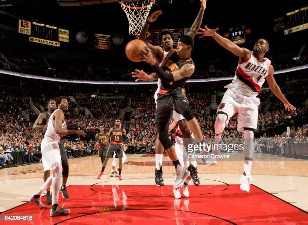 Kent Bazemore of the Atlanta Hawks passes the ball during the game against the Portland Trail Blazers on February 13 2017 at the Moda Center in...