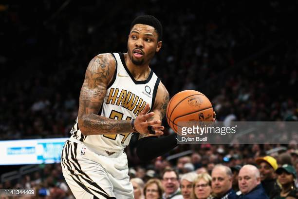 Kent Bazemore of the Atlanta Hawks passes the ball in the fourth quarter against the Milwaukee Bucks at the Fiserv Forum on April 07 2019 in...
