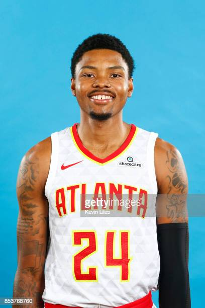 Kent Bazemore of the Atlanta Hawks poses for a head shot during Media Day on September 25 2017 at Four Season Hotel in Atlanta Georgia NOTE TO USER...