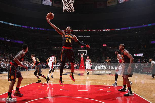 Kent Bazemore of the Atlanta Hawks reaches for the rebound against the Washington Wizards during the game on April 13 2016 at Verizon Center in...