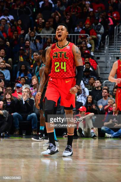 Kent Bazemore of the Atlanta Hawks reacts during a game against the Charlotte Hornets on November 25 2018 at State Farm Arena in Atlanta Georgia NOTE...