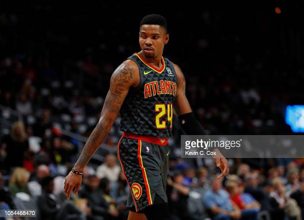 Kent Bazemore of the Atlanta Hawks reacts during the game against the Chicago Bulls at State Farm Arena on October 27 2018 in Atlanta Georgia NOTE TO...