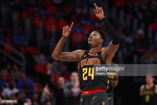 Kent Bazemore of the Atlanta Hawks reacts to a second half basket while playing the Detroit Pistons at Little Caesars Arena on November 10 2017 in...