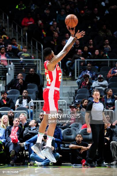 Kent Bazemore of the Atlanta Hawks shoots the ball during the game against the Charlotte Hornets on January 31 2018 at Philips Arena in Atlanta...
