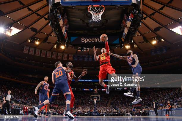 Kent Bazemore of the Atlanta Hawks shoots the ball during the game against the New York Knicks on February 4 2018 in New York City New York at...