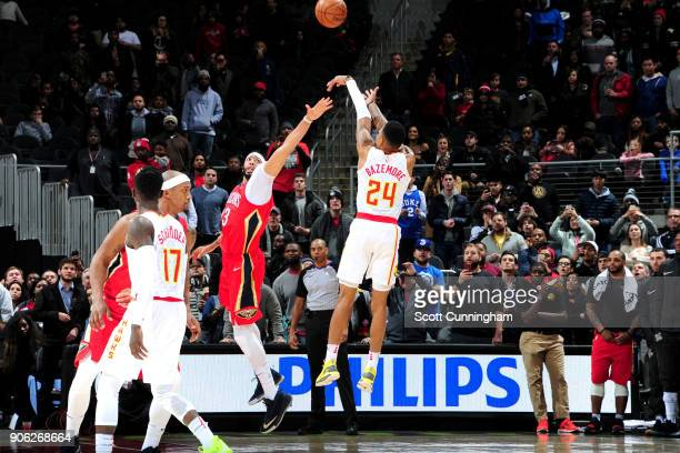 Kent Bazemore of the Atlanta Hawks shoots the ball to win the game against the New Orleans Pelicans on January 17 2018 at Philips Arena in Atlanta...