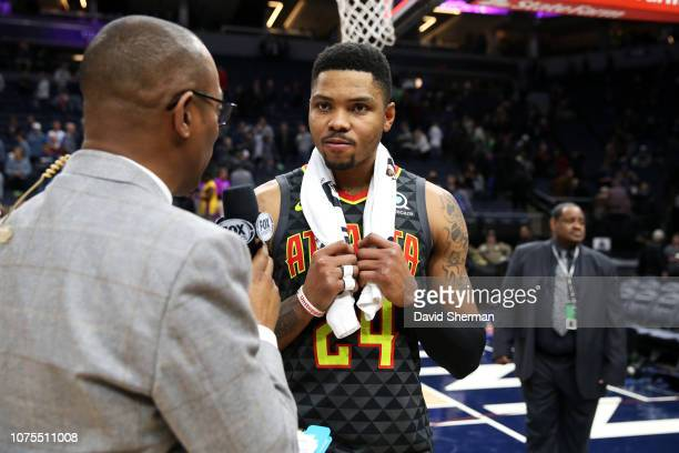 Kent Bazemore of the Atlanta Hawks speaks with the media after the game against the Minnesota Timberwolves on December 28 2018 at Target Center in...
