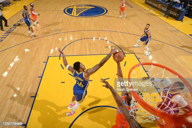 Kent Bazemore of the Golden State Warriors blocks shot against the Oklahoma City Thunder on April 8, 2021 at Chase Center in San Francisco,...