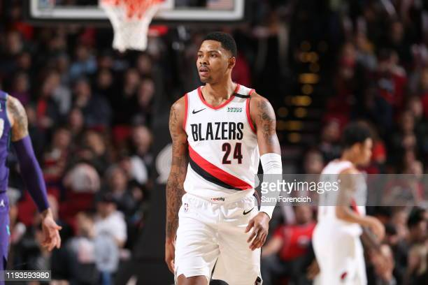 Kent Bazemore of the Portland Trail Blazers looks on against the Charlotte Hornets on January 13 2020 at the Moda Center Arena in Portland Oregon...