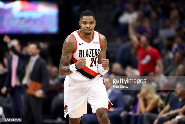 Kent Bazemore of the Portland Trail Blazers reacts after making a basket against the Sacramento Kings at Golden 1 Center on October 25 2019 in...