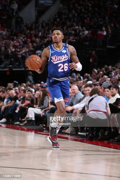 Kent Bazemore of the Sacramento Kings handles the ball against the Portland Trail Blazers on March 7 2020 at the Moda Center Arena in Portland Oregon...