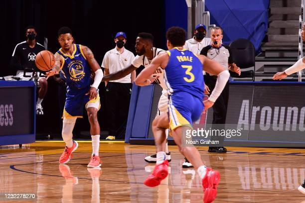 Kent Bazemore passes the ball during the game against the Denver Nuggets on April 12, 2021 at Chase Center in San Francisco, California. NOTE TO...
