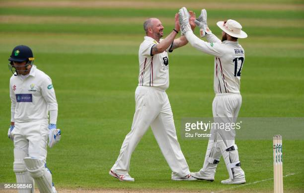Kent bowler Darren Stevens celebrates after dismissing Glamorgan batsman Kiran Carlson during day one of the Specsavers County Championship Division...