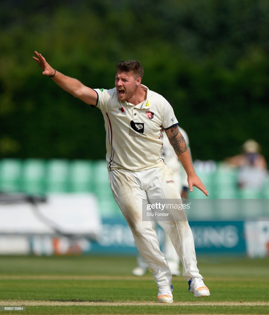Kent bowler Matt Coles appeals for a wicket during the Specsavers County Championship Division Two between Worcestershire and Kent at New Road on June 20, 2017 in Worcester, England.